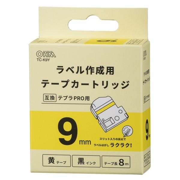 OHM テプラ互換ラベル 黄テープ 黒文字 幅9mm TC-K9Y