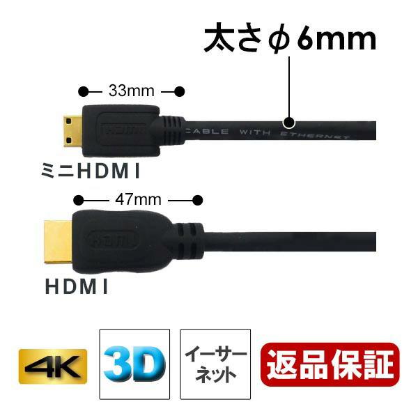 【ネコポス送料無料】3Aカンパニー ミニHDMIケーブル 1m 4K/3D対応 HDMI-miniHDMI変換ケーブル AVC-HDMI10MN 【返品保証】