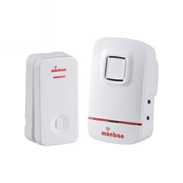 【送料無料】OHM ワイヤレス コールチャイムセット 押しボタン送信機(瞬間発電式)+受信機(AC式) monban 08-0520 OCH-ECL80 ドア 介護・玄関の呼び出し・受付や店内の呼び出しに 玄関 無線 チャイム 無線