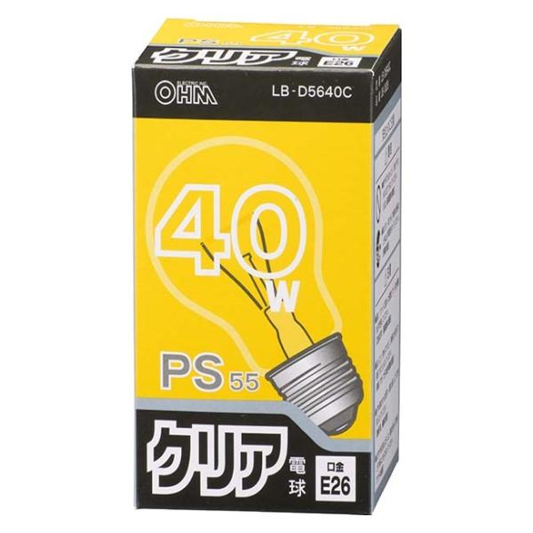 OHM 白熱電球 40W クリア E26 LB-D5640C