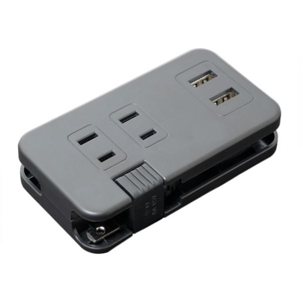 ミヨシ USB-ACアダプタ AC3個口/USB2ポート 0.2m 2A出力対応 ブラック IPA-24AC2BK