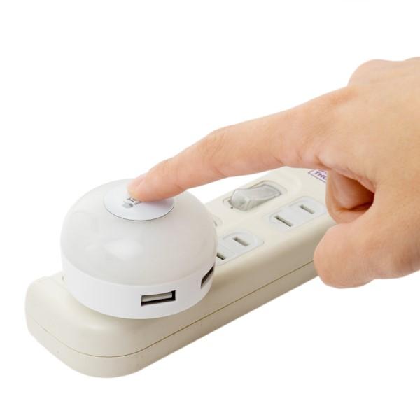 ミヨシ USB-ACアダプタ USB2ポート/3.4A出力対応 LEDライト搭載 電球色 IPA-34LLDWH