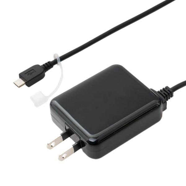 ミヨシ USB充電器 microUSBケーブル一体型 3.5m 2A出力対応 ブラック 充電用ACアダプタ IPA-MC35BK