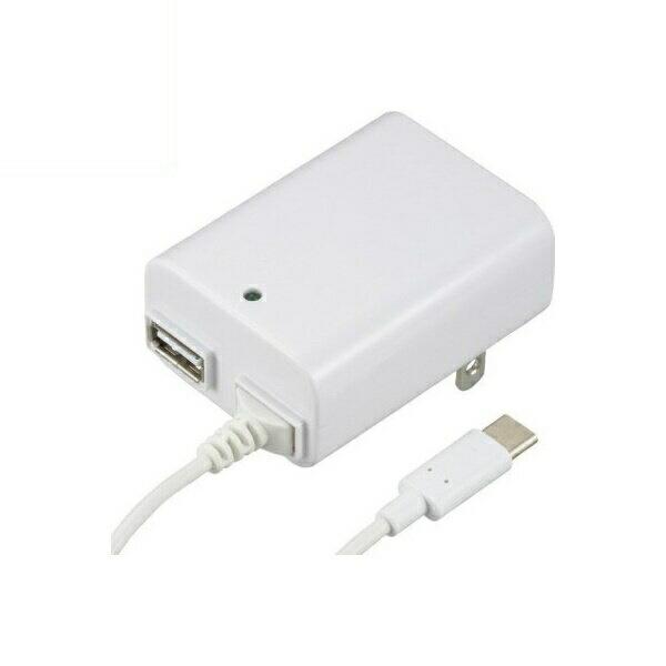 【送料無料】OHM USB-ACアダプター USB Type-Cケーブル付き ホワイト 01-3747 MAV-AUC2-W USB AC充電器 モバイル スマホ タブレット充電器 急速充電対応