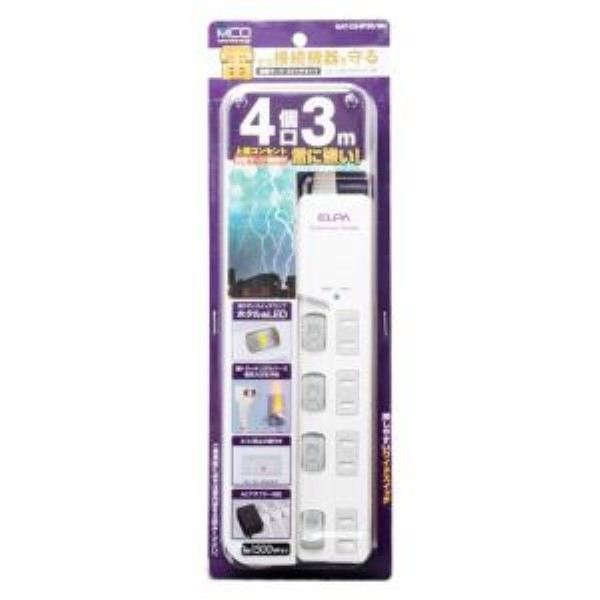ミヨシ スイッチ付き電源タップ 雷サージ 4個口 3m ホワイト OAタップ OAT-CS4P30WH