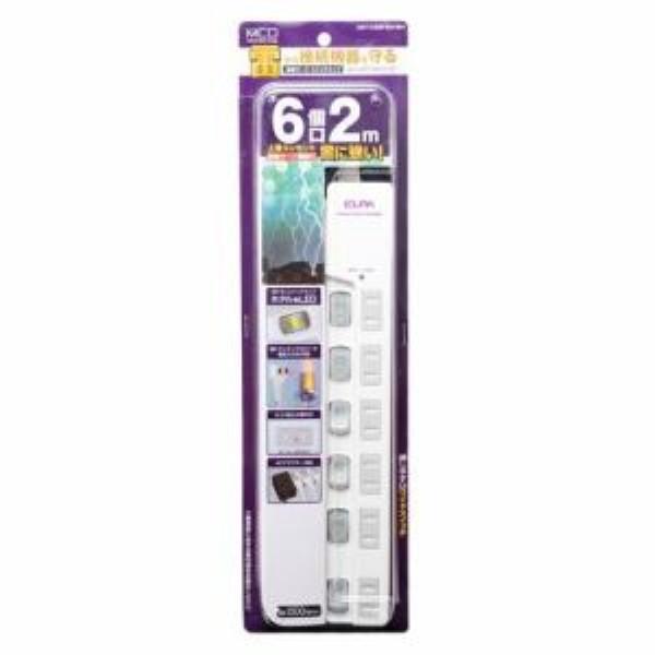 ミヨシ スイッチ付き電源タップ 雷サージ 6個口 2m ホワイト OAタップ OAT-CS6P20WH