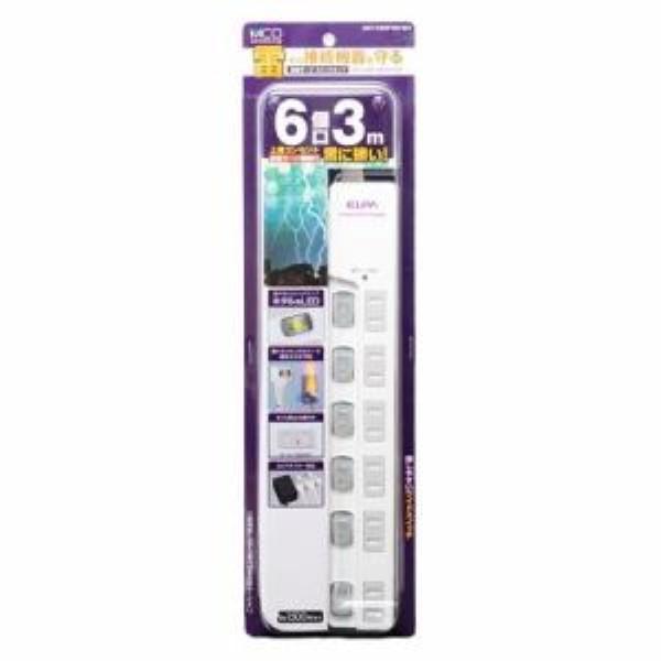 ミヨシ スイッチ付き電源タップ 雷サージ 6個口 3m ホワイト OAタップ OAT-CS6P30WH