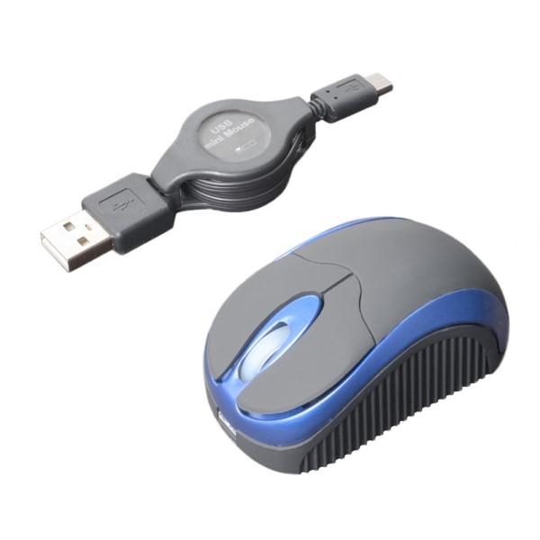 ミヨシ モバイルミニマウス コードリール式 USB Typy-A用 ブルー SRM-MA01BL