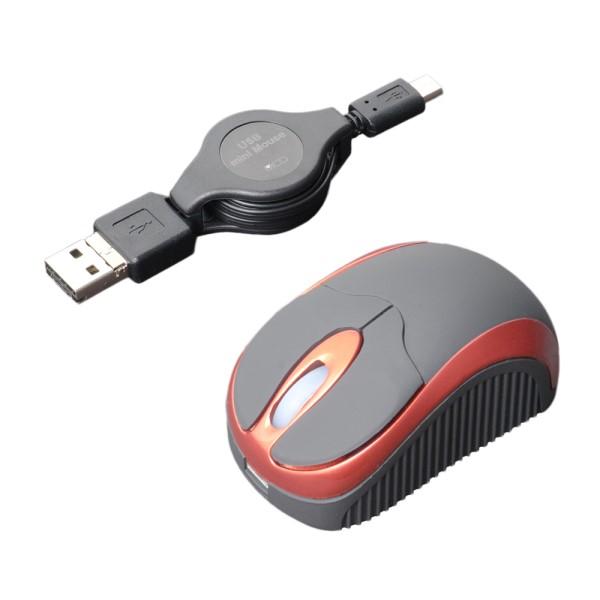ミヨシ モバイルミニマウス コードリール式 USB Typy-A/microB用 レッド SRM-MB01RD