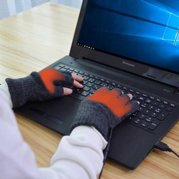 【2月限定特価】【送料無料】USB指までヒーター手袋 スマホも使える指なし手袋 メンズ・レディース対応 USBあったかグッズ USBWMGLV