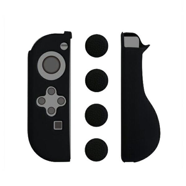 コロンバスサークル Nintendo Switch用 シリコングリップ&スティックカバー ブラック CC-NSSSC-BK