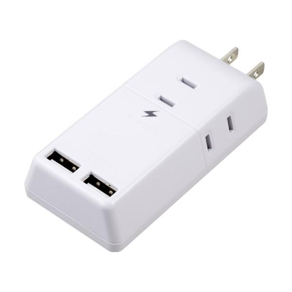 ヤザワ 雷ガード付トリプルタップ AC3個口+USB2ポート 2.4A ホワイト H6TK5002UWH