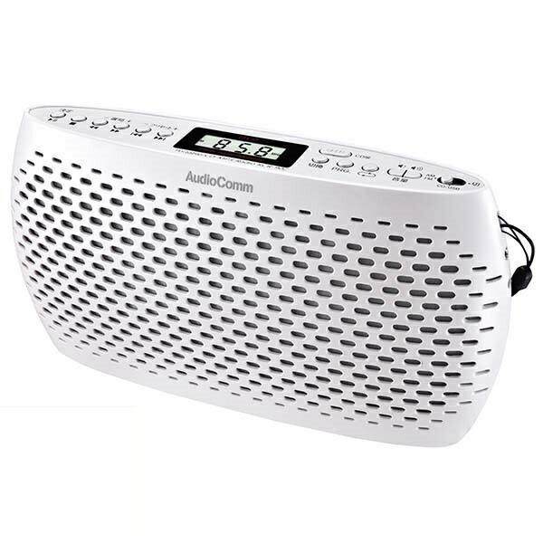 AudioComm ポータブルCDプレーヤー CD/MP3/ラジオ対応 ホワイト RCR-90Z-W