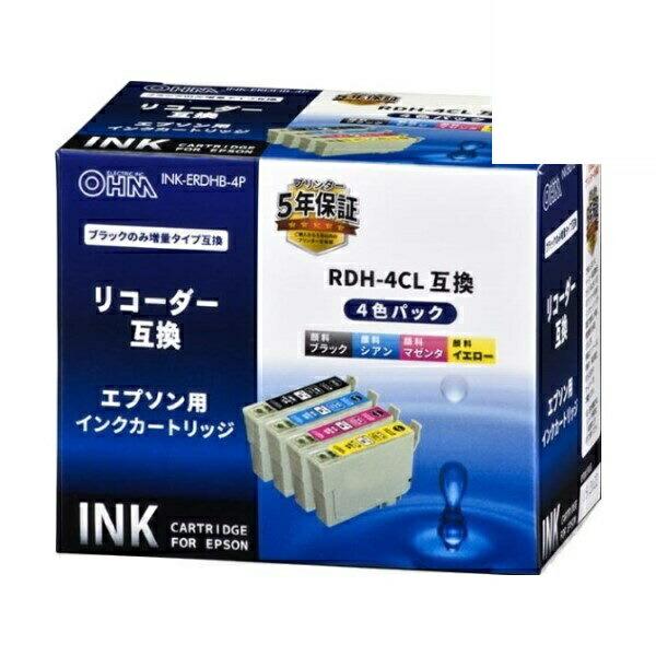 【送料無料】OHM エプソン リコーダー RDH-4CL互換インク 4色パック 01-4312 INK-ERDHB-4P