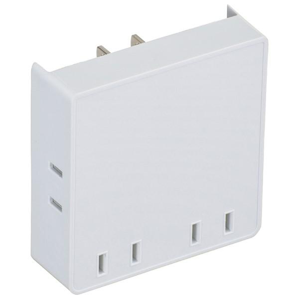 【年中無休】【送料無料】OHM スクエア電源タップ 4個口 ホワイト 00-6903 HS-A4PBT-W OAタップ コンセントタップ テーブルタップ 電源コード