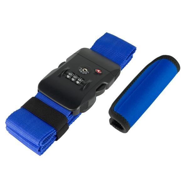 【送料無料】ミヨシ めじるしセット ロック付ベルトグリップ ブルー MBZ-MZ03BL スーツケース トラベルケース用