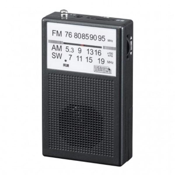 【メール便送料無料】ヤザワ AM/FM/短波ポケットラジオ ブラックスピーカー内蔵 RD22BK コンパクト 軽量 ハンディラジオ