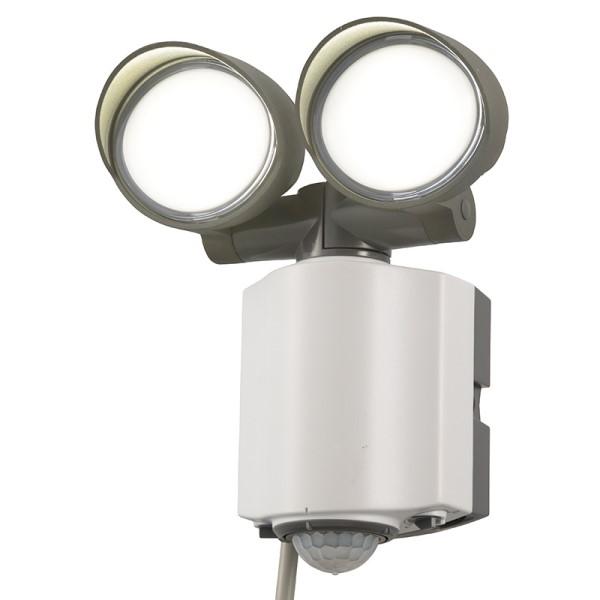 【送料無料】OHM LEDセンサーライト LED2灯 1200lm 防水IP55 コンセント式 07-8892 RL165Y2 屋外用 防犯センサー 防犯ライト