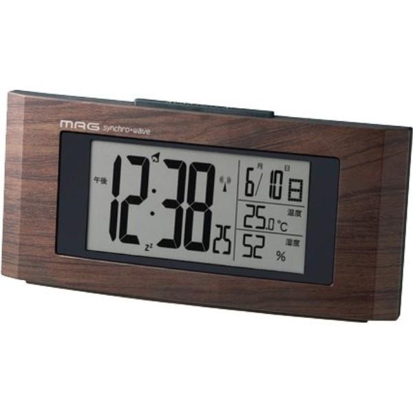 【送料無料】ノア精密 MAG デジタル電波時計 ウッドライン ブラウン T-743-BR-Z