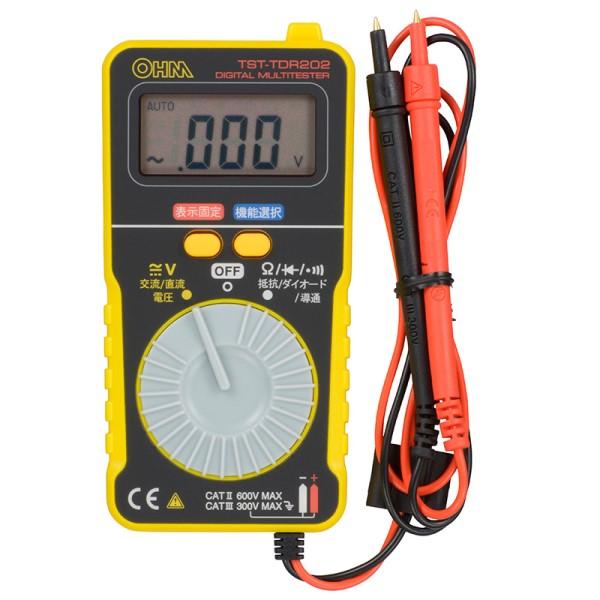 【送料無料】OHM 薄型デジタルテスター カードタイプ 08-1289 TST-TDR202 薄型 小型 電流 電圧 計測 テスター