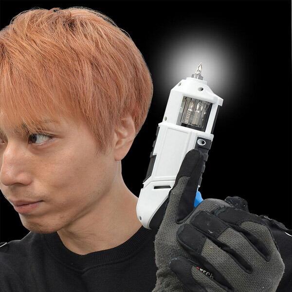 【送料無料】サンコー リボルバービット交換 充電式 電動ドライバー ドリボルバー ホワイト CDLSSWDV 電動工具 女性にもカンタン