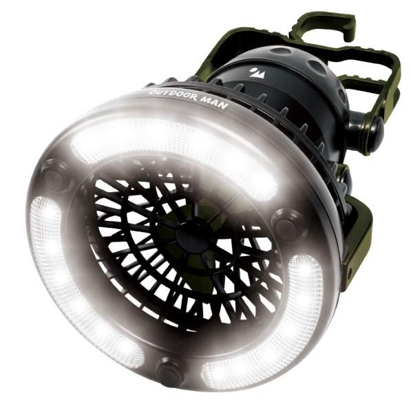 【送料無料】LEDライト付 扇風機 送風機 電池式ライト&ファン OUTDOOR MAN KOLT-001B キャンプ アウトドア用品 送風 持ち手付き テントライト 電灯 手持ち 明るい 吊り下げ