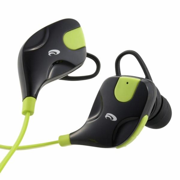 【送料無料】Bluetooth ワイヤレススポーツイヤホン IPX4防水イヤホン グリーン&ブラック 03-1720 HP-W152N iPhone スマホ タブレット対応