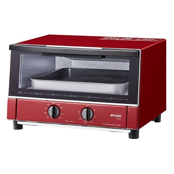 【送料無料】タイガー オーブントースター やきたて グロスレッド ハイパワー1300W KAM-S130-RG ワイド クッキングトースター