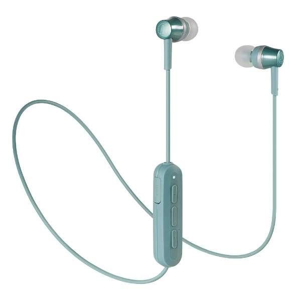 【送料無料】オーディオテクニカ Bluetooth ワイヤレスイヤホン グリーン Sound Reality ATH-CKR300BTGR