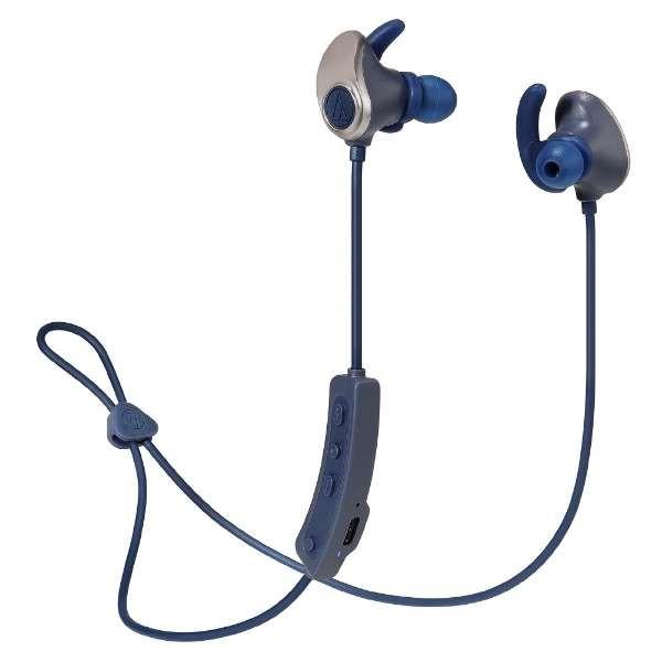 【送料無料】オーディオテクニカ Bluetooth ワイヤレスヘッドホン ゴールドネイビー 音楽プレイヤー付内蔵 SONICSPORT ATH-SPORT90BTGNV