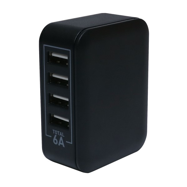 【送料無料】ミヨシ USB-ACアダプタ ブラック USB4ポート 6A出力 急速充電対応 USBチャージャー IPA-60UBK USB AC充電器 USBコンセント
