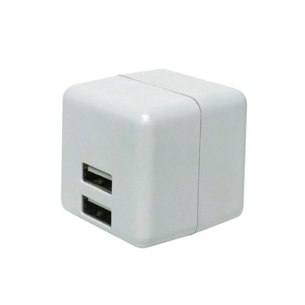 【送料無料】ミヨシ キューブ型 USB-ACアダプタ 2ポート 2.4A ホワイト IPA-US02WH iPhone スマートフォン タブレット充電に