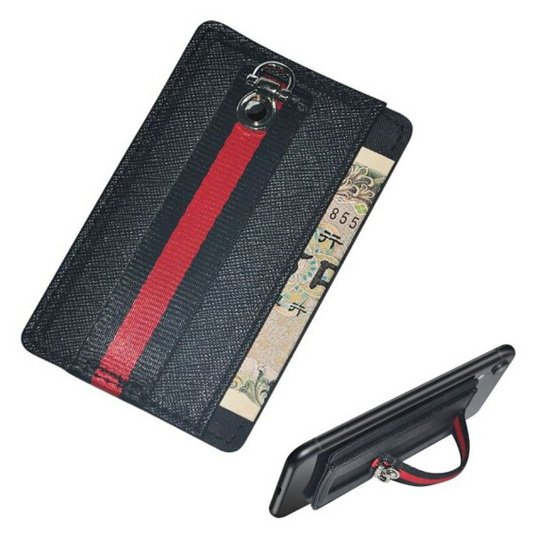 【メール便送料無料】スマホホルダーカードケーススタンド 2ポケット テープ貼付 Libra LBR-SHCS スマホホルダー&スマホスタンド&カードケース iPhone対応