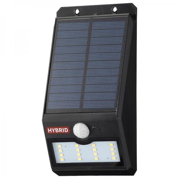 【送料無料】センサーウォールライト 400lm ソーラー+乾電池 白色LED ブラック OHM 06-4232 LS-SHB140FN4-K セキュリティ 防犯 LEDライト