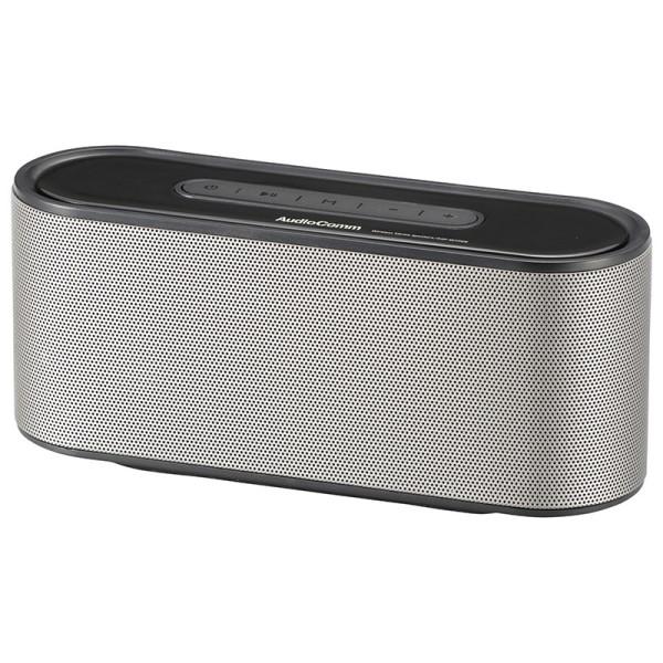 【送料無料】Bluetooth ワイヤレスステレオスピーカー シルバー ポータブルスピーカー AudioComm OHM 03-2194 ASP-W720N iPhone スマホ タブレット対応 コンパクトスピーカー
