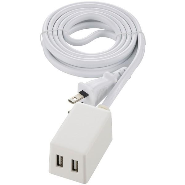 【送料無料】コード付USB-ACアダプター 2ポートUSBチャージャー Type-A×2 2m ホワイト OHM 00-1827 HS-2MUSB2.4X2 iPhone スマートフォン タブレット対応 USB充電器