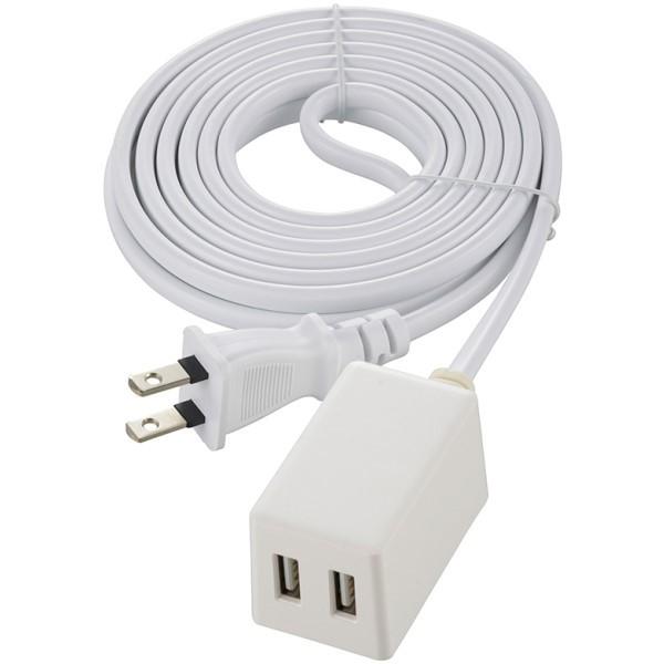 【送料無料】コード付USB-ACアダプター 2ポートUSBチャージャー Type-A×2 3m ホワイト OHM 00-1827 HS-3MUSB2.4X2 iPhone スマートフォン タブレット対応 USB充電器