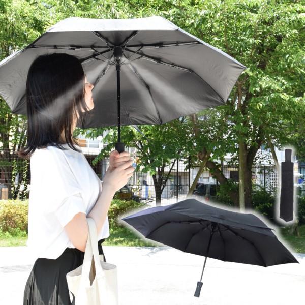 【送料無料】ふわっとひんやり 折り畳みミストシャワーフ゛レラ 折りたたみ傘 晴雨兼用傘 サンコー SFUVPMBK UV 熱中症対策UV対策
