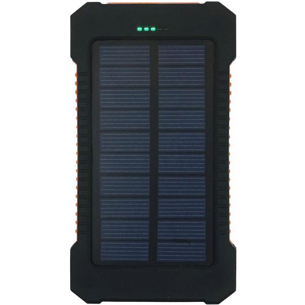 【送料無料】LEDライト付ソーラーチャージャー モバイルバッテリー 5000mAh USB2ポート PSE認証 エバートラスト UA6308T アウトドア 防災グッズ 非常用電源 太陽光充電 ソーラーパネル バッテリー