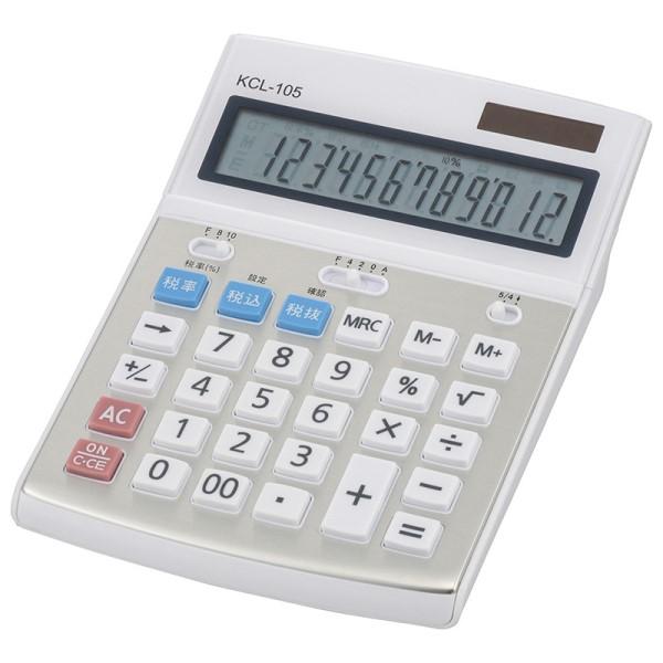 【送料無料】大型計算機 12桁電卓 税計算機能付 ホワイト OHM 07-8832 KCL-105