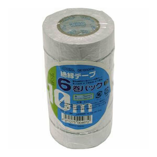 OHM 絶縁テープ ビニールテープ 10m ホワイト 6巻パック DE19106W