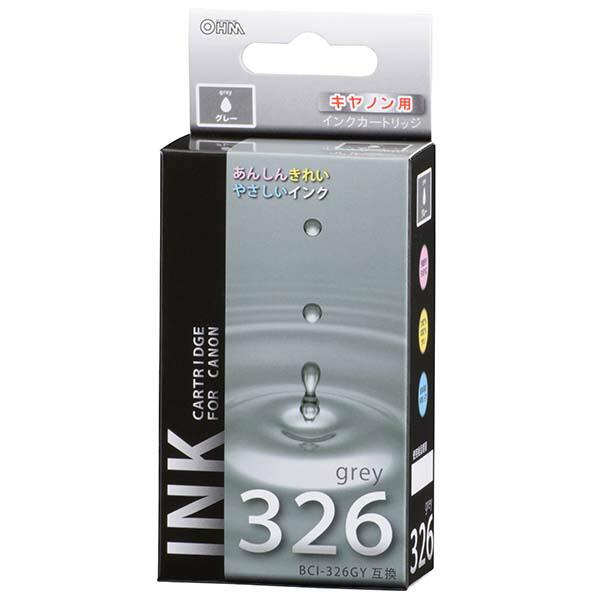 【メール便送料無料】OHM キヤノン 互換インク BCI-326GY互換 グレー×1 01-4156 INK-C326B-GY