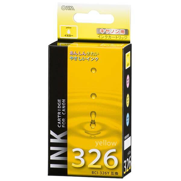 【メール便送料無料】OHM キヤノン 互換インク BCI-326Y互換 イエロー×1 01-4155 INK-C326B-Y