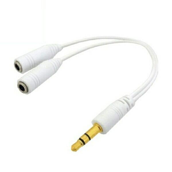 【ネコポス送料無料】3Aカンパニー スリムタイプ ステレオミ二分配ケーブル 0.1m ホワイト オーディオ変換アダプタ OUT-35SPWH 【返品保証】