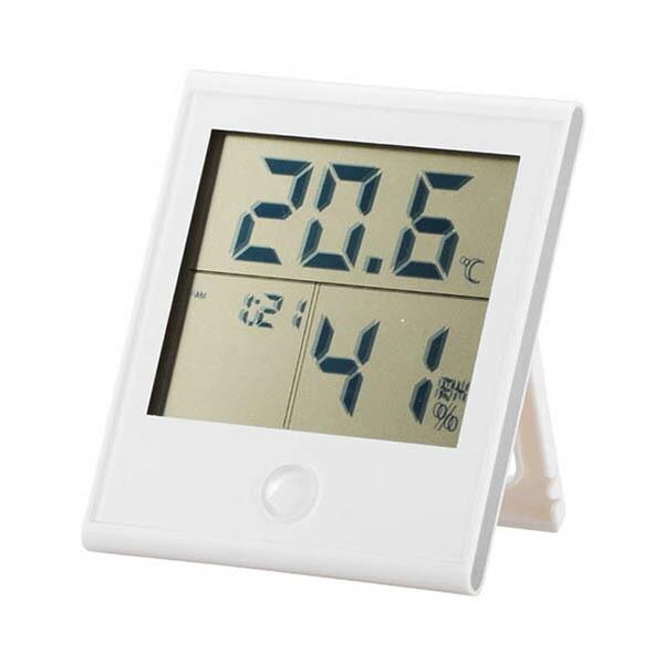 OHM 快適表示・時計機能付き デジタル温湿度計 ホワイト TEM-200-W