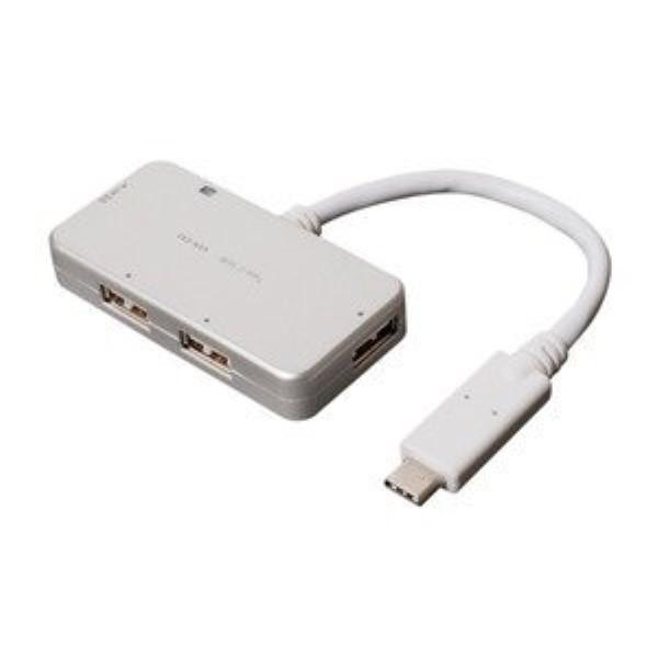 【送料無料】ミヨシ ケーブル付 USBハブ Type-C シルバー USB4ポート USH-C02/SL USB2.0×3ポート+USB3.0 HUB