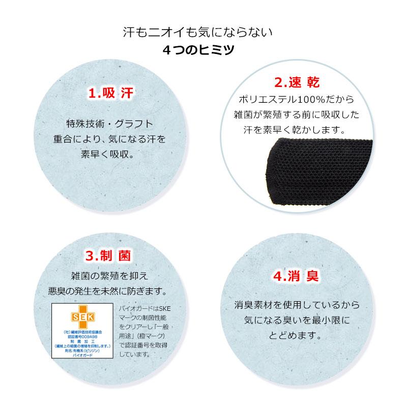 エリプリ 帽子の汚れ・襟汚れ防止テープ MO-eRiPRet-SBK 1.吸 汗…特殊技術・グラフト重合により、気になる汗を素早く吸収。2.速 乾…ポリエステル100%だから雑菌が繁殖する前に吸収した汗を素早く乾かします。3.制 菌…雑菌の繁殖を抑え悪臭の発生を未然に防ぎます。4.消 臭…消臭素材を使用しているから気になる臭いを最小限にとどめます。