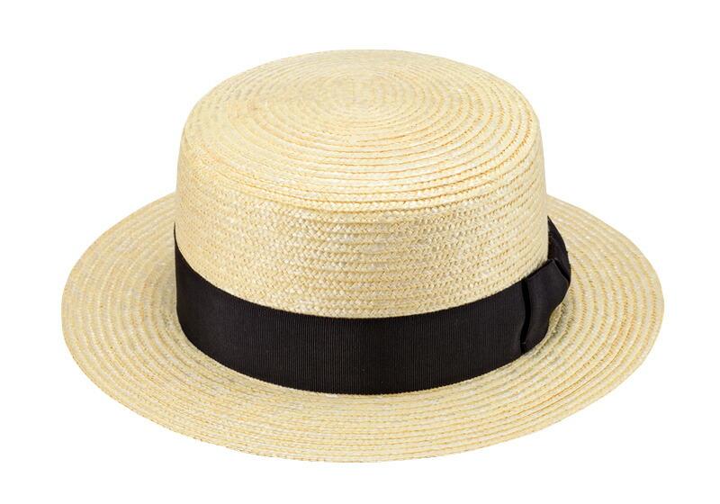 田中帽子店 uk-wh001 wa‐sou-和- GINO ジーノ 麦わら 紳士用カンカン帽子 60cm 麦わら帽子の老舗がつくる、正統派カンカン ラットな頭頂部が特徴のカンカン帽。もともとは、水辺で仕事をする人々のために作られた帽子と言われています。水に濡れても型崩れしないよう、叩くと「カンカン」と音がするほど硬くつくられたことから、この名が付きました。最近は、女性にも大人気。時を経ても古びない、レトロでモダンな夏の定番帽子です。