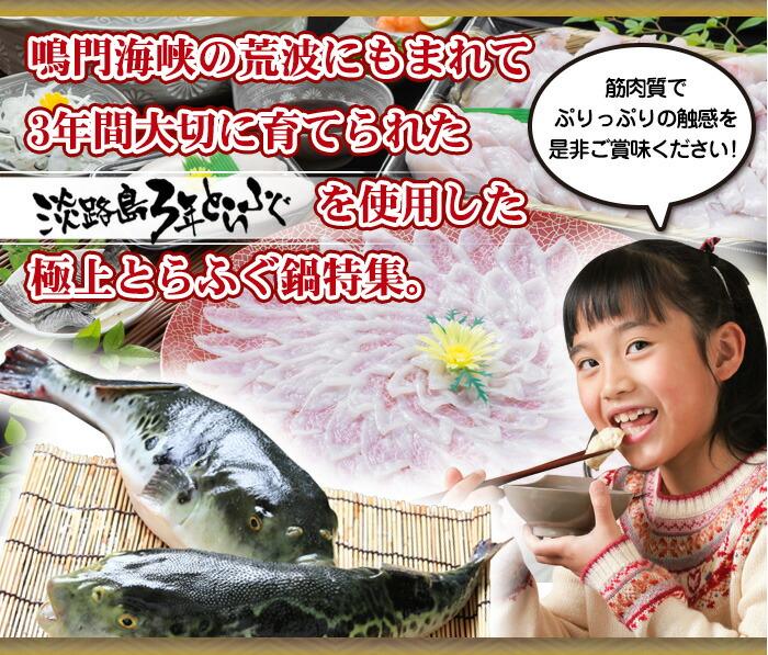 鳴門海峡の荒波にもまれて3年間大切に育てられた淡路島3年とらふぐを使用した極上とらふぐ鍋特集