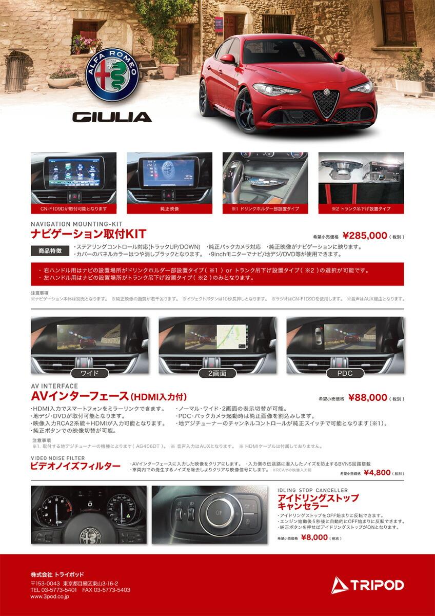 アルファロメオ/ジュリア・ステルヴィオ  AVインターフェース(HDMI入力対応) 外部入力
